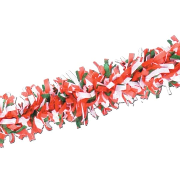 Club Pack of 24 Red, White and Green Festive Tissue Festooning Decorations 25' - RED