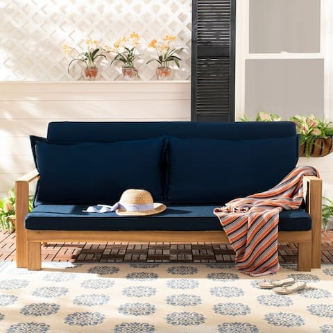 """Safavieh Outdoor Living Hammet Double Sun Lounger With Pullout Table - 28""""/48.8""""x74.8""""x29.5"""""""