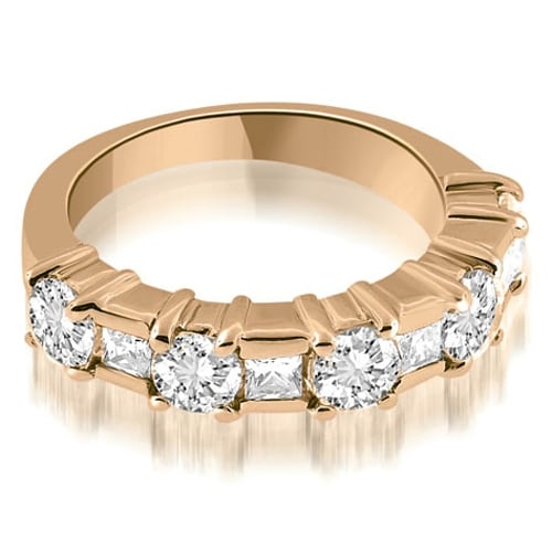 2.00 cttw. 14K Rose Gold Round and Princess Cut Diamond Wedding Band