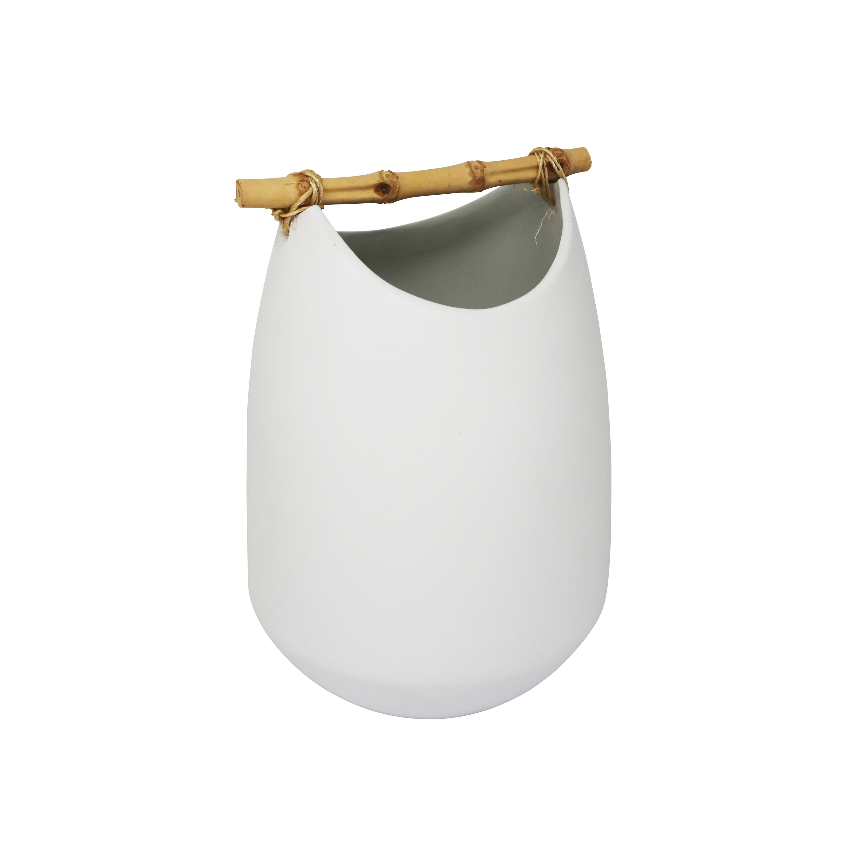 Unique Shape Ceramic Vase with Bamboo Handle, Small, Matte White
