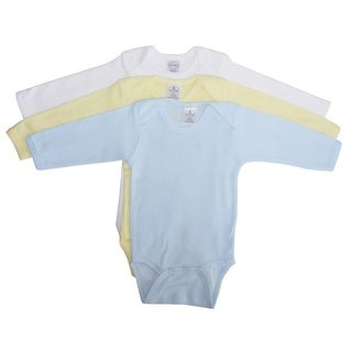 Bambini Baby Boys Blue Yellow White Cotton Long Sleeve 3-Pack Bodysuits