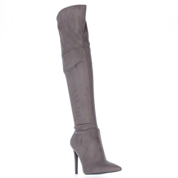 GUESS Akera Over The Knee Pointed Toe Heeled Dress Boots, Gray