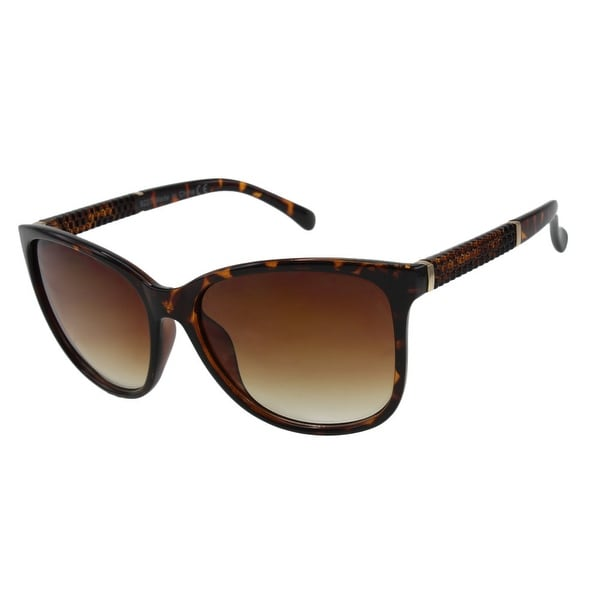 Womens Oversize Sunglasses with Metal Accents and Textured Temples