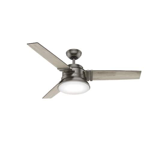 "Hunter 52"" Branton Indoor Ceiling Fan with LED Light Kit and Remote - Brushed Slate"