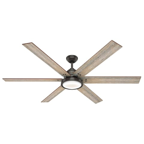 """Hunter 70"""" Warrant Ceiling Fan with LED Light Kit and Wall Control"""