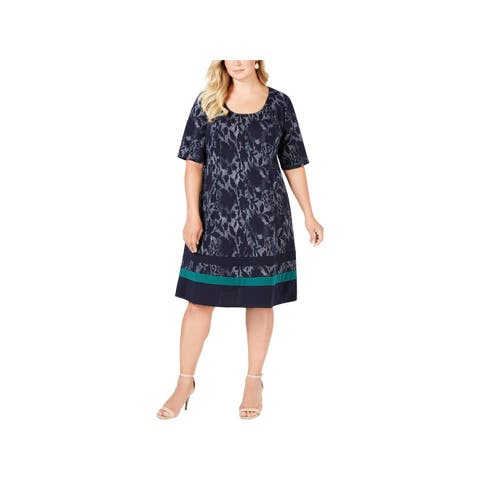 Signature By Robbie Bee Womens Plus Casual Dress Jacquard A-line