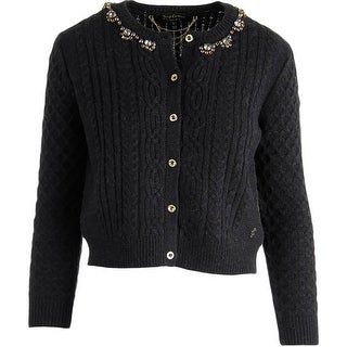 Juicy Couture Black Label Womens Cable Knit Embellished Cardigan Sweater