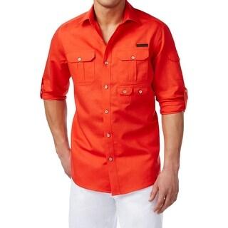 Sean John Mens Flight Button-Down Shirt Linen Casual