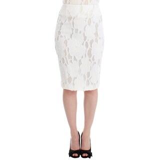 Andrea Incontri White Silk Straight Knee-length Pencil Skirt - it40-s
