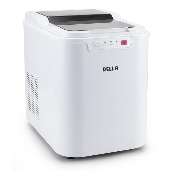 Della Ice Maker Electric Machine Countertop Cube Size Easy-Touch Buttons Yield Up To 26 Pounds of Ice Daily, White