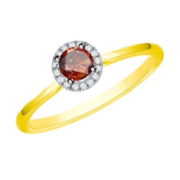 Prism Jewel 0.37 Ctw Classic Cognac Color Diamond with Diamond Engagement Halo Ring