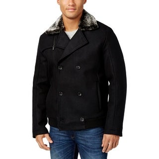 Calvin Klein Mens Coat Double-Breasted Faux Fur