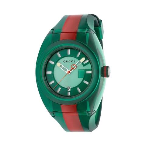 Gucci Men's YA137113 'Sync' Two-Tone Rubber Watch - Green