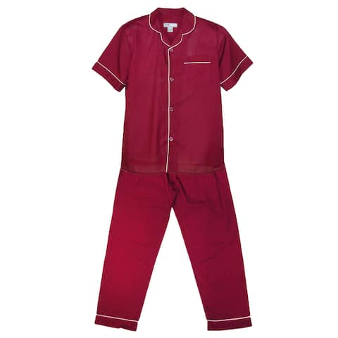 Ten West Apparel Men's Short Sleeve Long Leg Solid Pajama Set