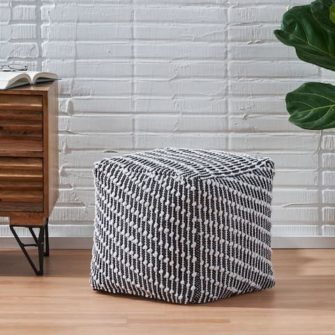 Amboy Boho Fabric Cube Pouf by Christopher Knight Home