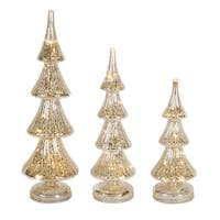 """Set of 3 Silver Colored Decorative Table Top Glass Christmas Tree 18"""""""