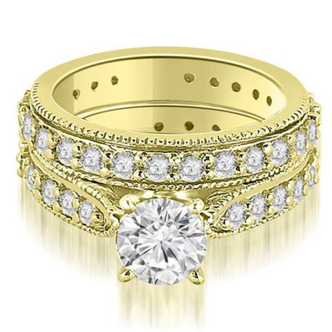 2.00 CT Cathedral Round Cut Eternity Diamond Engagement Matching Set - White H-I