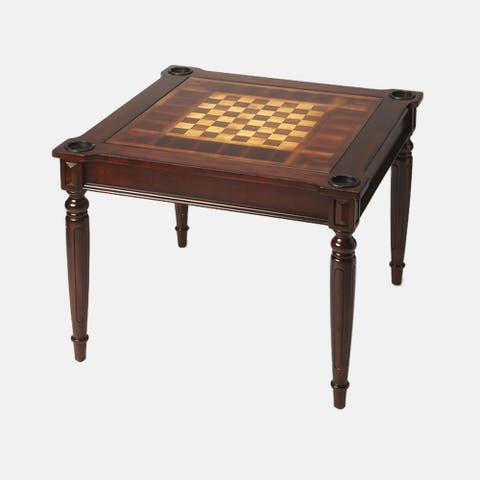 Offex Transitional Square Multi - Game Card Table - Dark Brown