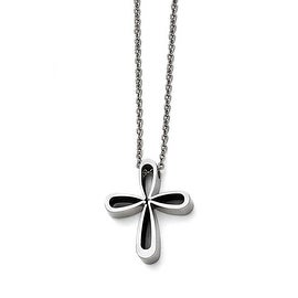 Chisel Stainless Steel Polished Cross Necklace - 18 in