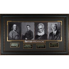 American Innovators unsigned 23x38 4 Photo Engraved Signature Series Leather Framed w Franklin Edis