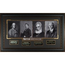 Thomas Edison American Innovators unsigned 23x38 Engraved Signature Series Leather Framed (4 photo) Franklin/Bell/Ford (history)