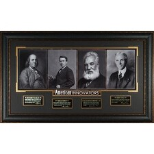 Thomas Edison American Innovators unsigned 23x38 Engraved Signature Series Leather Framed 4 photo F
