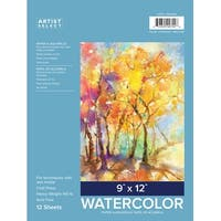 """Artist Select Watercolor Pad 9""""X12""""-12 Sheets"""