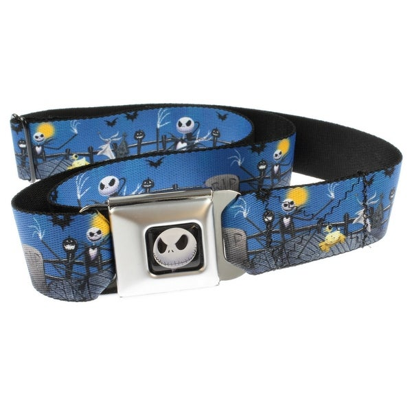 Nightmare Before Christmas Cemetery Scene Seatbelt Belt-Holds Pants Up