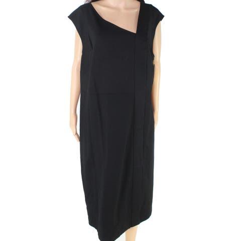 Sejour NORDSTROM Womens Black Size 20 Plus Asymmetric Neck Sheath Dress