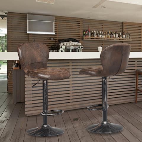 Set of 2 Adjustable Swivel Bar Stool with Footrest Retro Style