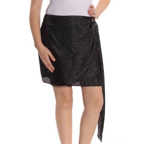 MICHAEL KORS Womens Black Metallic Mini Wrap Wear To Work Skirt Size: 8