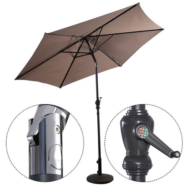Costway 9ft Patio Umbrella Patio Market Steel Tilt w/ Crank Outdoor Yard Garden (Tan) - Tan