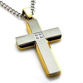 Stainless Steel Two Tone Gold Plated Cross Pendant w/ CZ - 24 inches