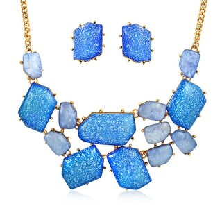 Bling Jewelry Blue Cluster Bib Necklace Stud earrings Set Gold Plated