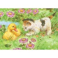 "Kitten & Duckling - Mini Color Pencil By Number Kit 5""X7"""