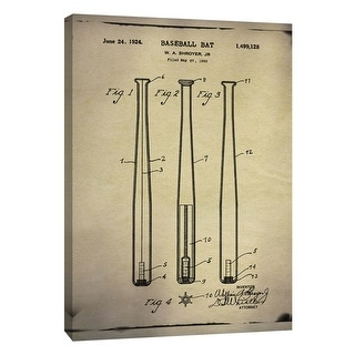 """PTM Images 9-108979  PTM Canvas Collection 10"""" x 8"""" - """"Baseball Bat Patent Buff"""" Giclee Baseball Art Print on Canvas"""