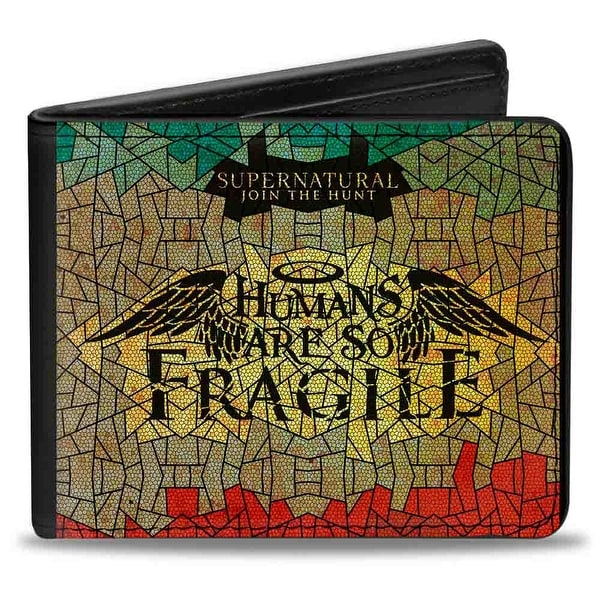 Supernatural Humans Are So Fragile Stained Glass Black Greens Yellows Red Bi-Fold Wallet - One Size Fits most