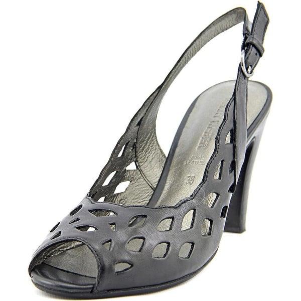 Gerry Weber Sascha 06 Women Peep-Toe Leather Black Slingback Heel