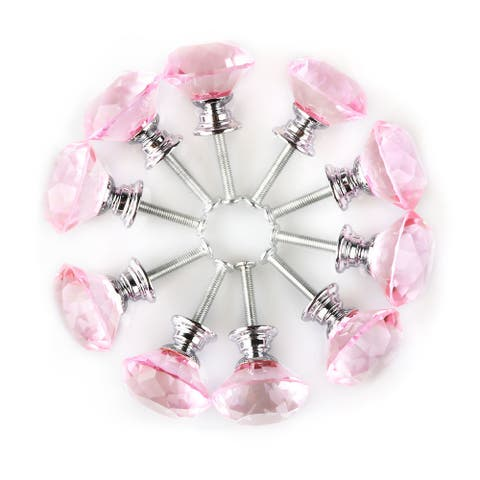 "1.18""Crystal Glass Diamond Shape Drawer Knob Cabinet Pull Handle 10pcs - 1.18"" x 1.18""(D*H)"