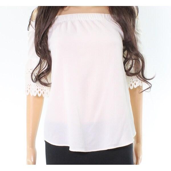 Moa Moa Womens Off The Shoulder Lace Sleeve Blouse