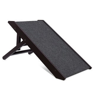 Internet's Best Espresso Wood/ Carpet Adjustable Folding Pet Ramp