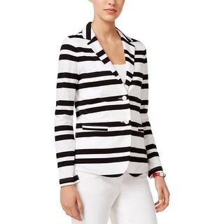 Tommy Hilfiger Womens Two-Button Blazer Cotton Striped