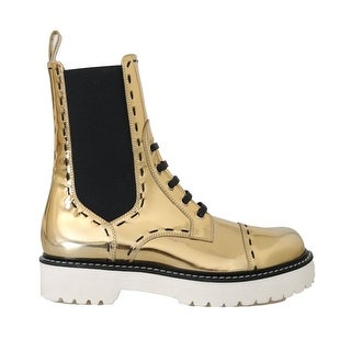 Dolce & Gabbana Gold Leather Boots Mid Calf Boots