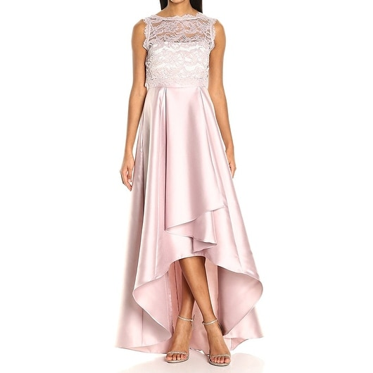 Adrianna Papell Womens Lace Overlay Hi-Low Gown