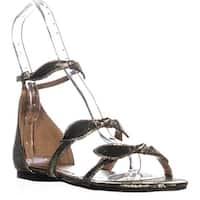 Indigo Rd. Luna Flat Ankle Strap Sandals, Gold Fabric - 8.5 us