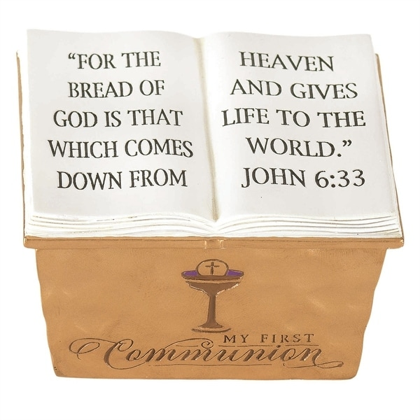"""1.8"""" Golden First Communion Box with Verse from John 6:33 - N/A"""