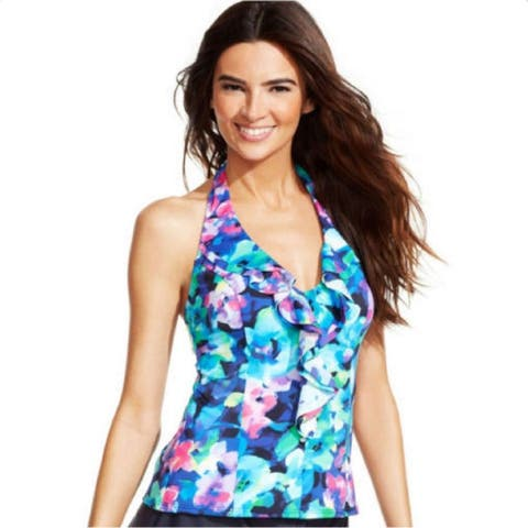 INC International Concepts Women's Floral Ruffle Halter Tankini Top,14