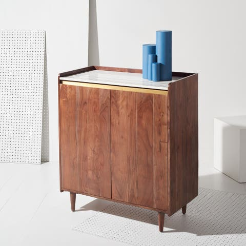 "SAFAVIEH Couture Milana Marble Bar Cabinet - 34.6"" W x 17.7"" L x 39.4"" H"