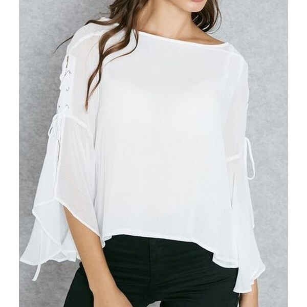 29f209f0506ef9 Shop TopShop NEW White Womens Size 8 Sheer Lace-Up Bell Sleeve Blouse -  Free Shipping On Orders Over  45 - Overstock - 20970843