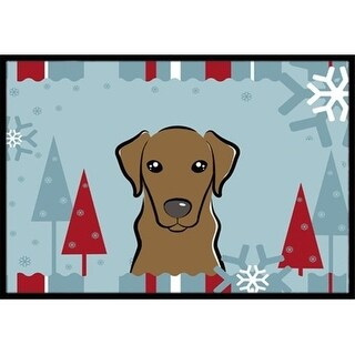 Carolines Treasures BB1730MAT Winter Holiday Chocolate Labrador Indoor & Outdoor Mat 18 x 27 in.